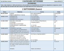 CALENDARIO SEPTIEMBRE 2018/2019 - LUNES