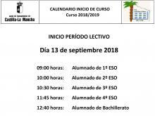 Horario inicio curso 2018-2019