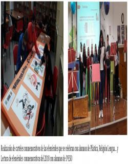 Realización de carteles conmemorativos de las efemérides que se celebran con alumnos de Plástica, Religión Lengua… y Lectura de efemérides  conmemorativas del 2018 con alumnos de 3ºESO