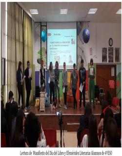 Lectura de  Manifiesto del Día del Libro y Efemérides Literarias Alumnos de 4ºESO